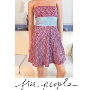 Red Floral Strapless Free People Sundress